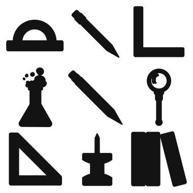 Black school goods silhouettes. Part 3.