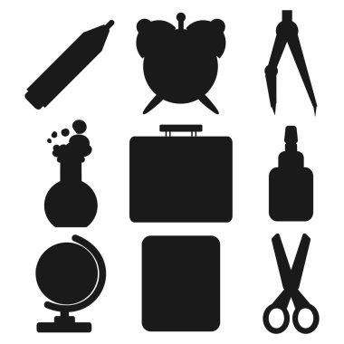 Black school goods silhouettes. Part 1.