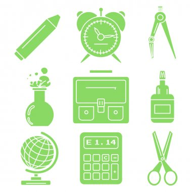 Black school goods, green linear icons. Part 1.