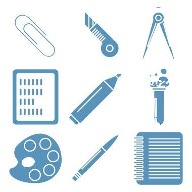 Black school goods, light blue linear icons. Part 2.