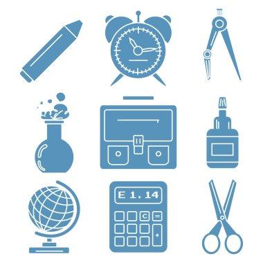 Black school goods, light blue linear icons. Part 1.