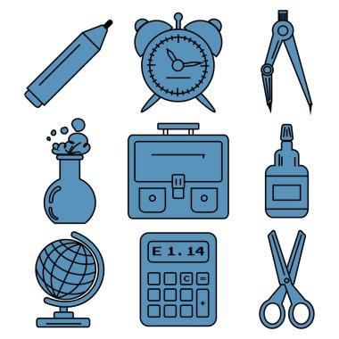 Black school goods linear icons. Part 1.