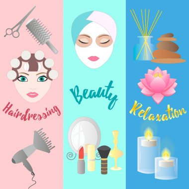 Hairdressing, Beauty, Relaxation. Banner Templates.