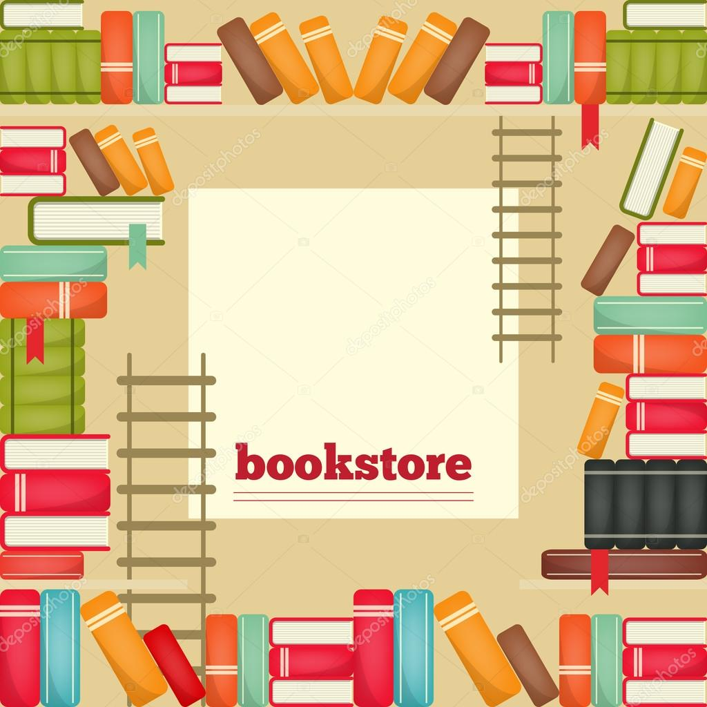 The rows of books on shelves