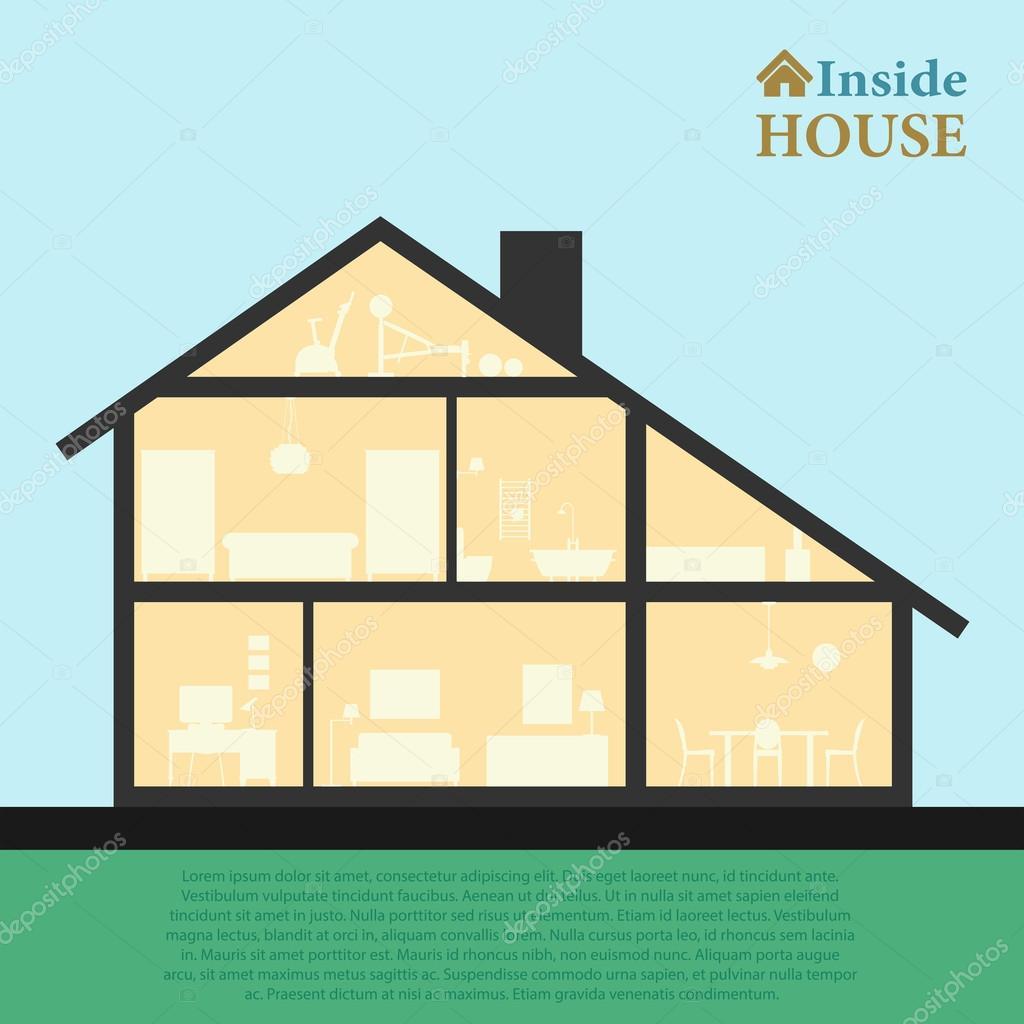 Casa all 39 interno interno di casa moderna dettagliate nel for Casa moderna vector