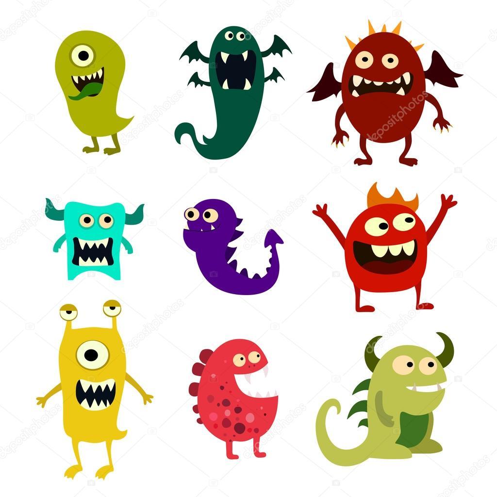 Ensemble de dessins anim s de monstres monstre mignon jouet color vector image vectorielle - Dessins monstres ...