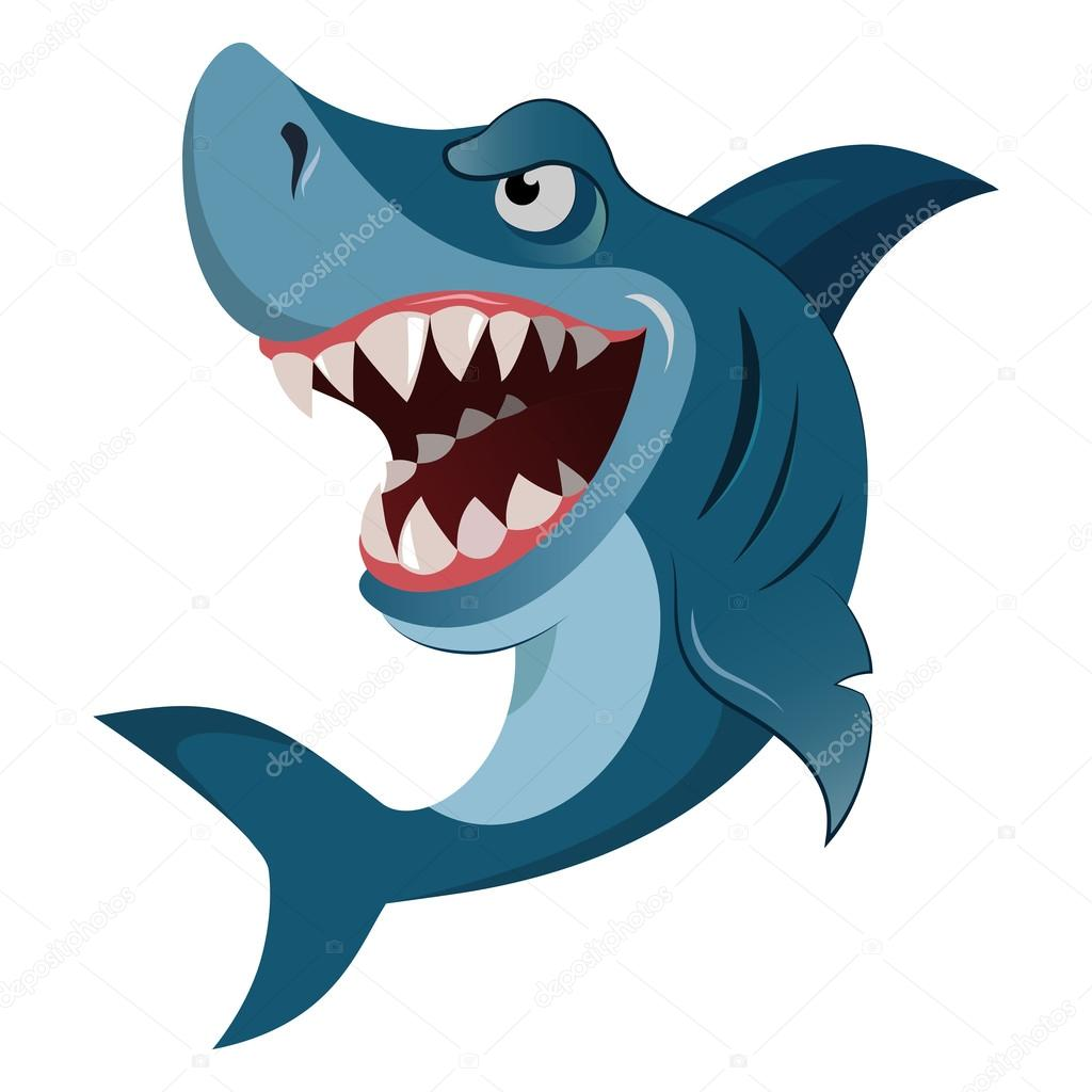 Faim en col re dessin anim grand requin blanc wiith grandes dents isol es illustration - Dessin de grand requin blanc ...