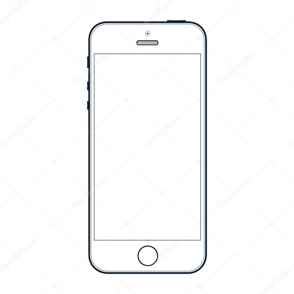 Realistico Nero Telefono Cellulare Con Schermo Vuoto Isolato Su