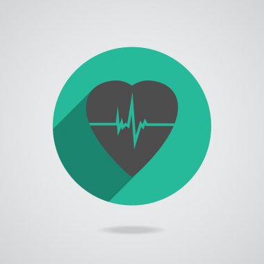 Defibrillator gray heart icon isolated on teal background. Vector illustration EPS10 stock vector