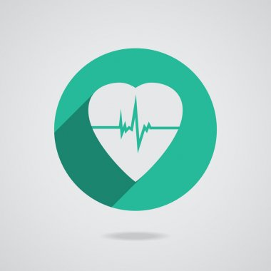 Defibrillator white heart icon isolated on teal background. Vector illustration EPS10 stock vector