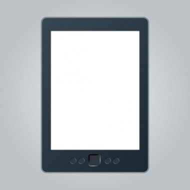 Portable e-book reader with two clipping path for book and screen. You may add your own text or picture.