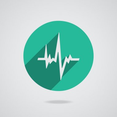 Pulse heart rate white icon in flat style with long shadow. Green button on white background. Vector EPS10 stock vector