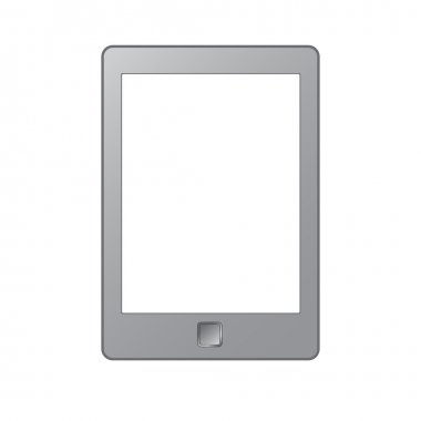 Portable e-book reader with clipping path for book and screen. You may add your own text or picture.