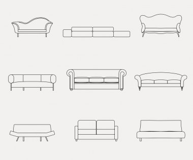 sofas and couches furniture icons