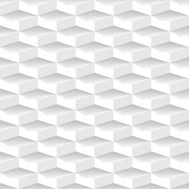 White 3d geometric seamless pattern