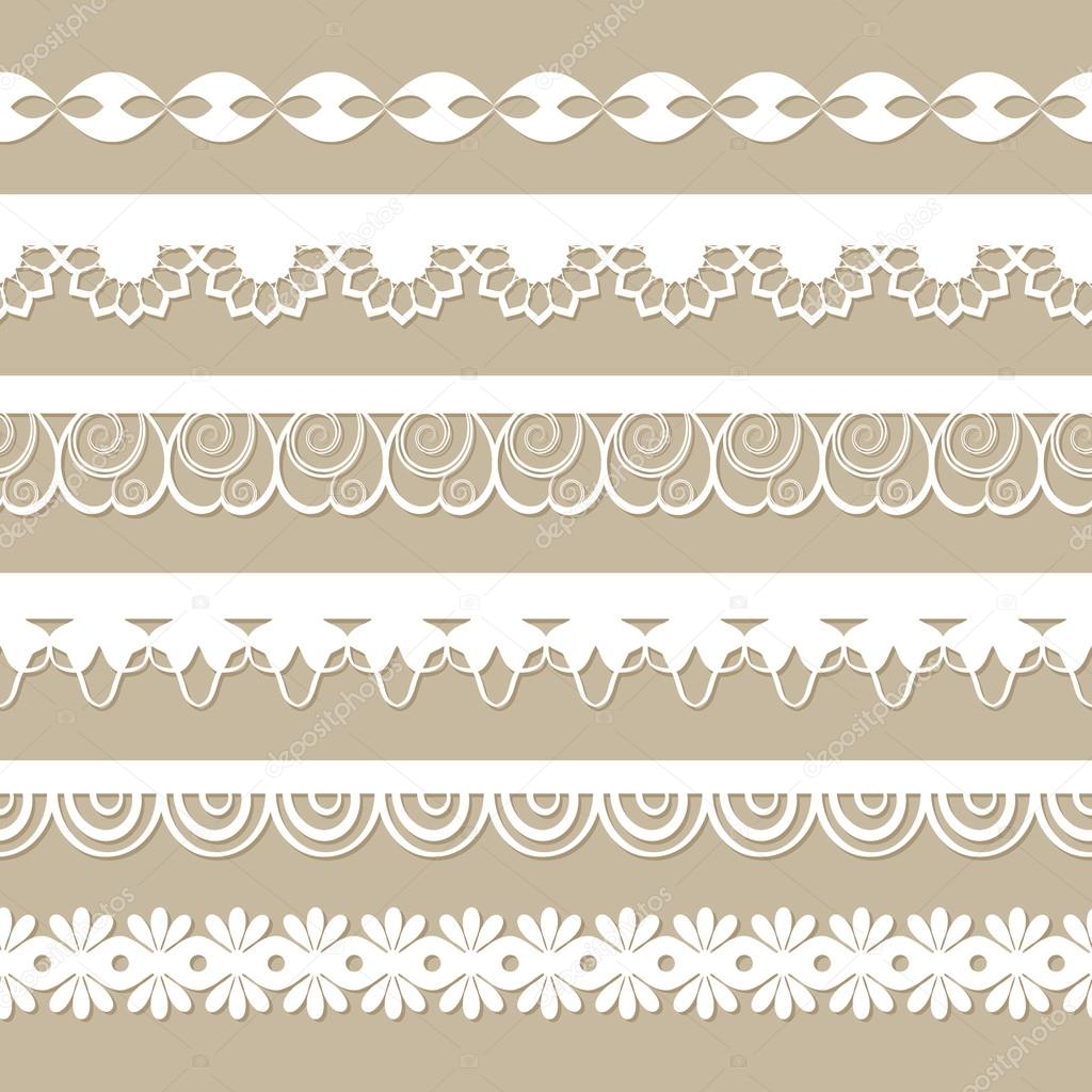 Set of paper laces on the beige background