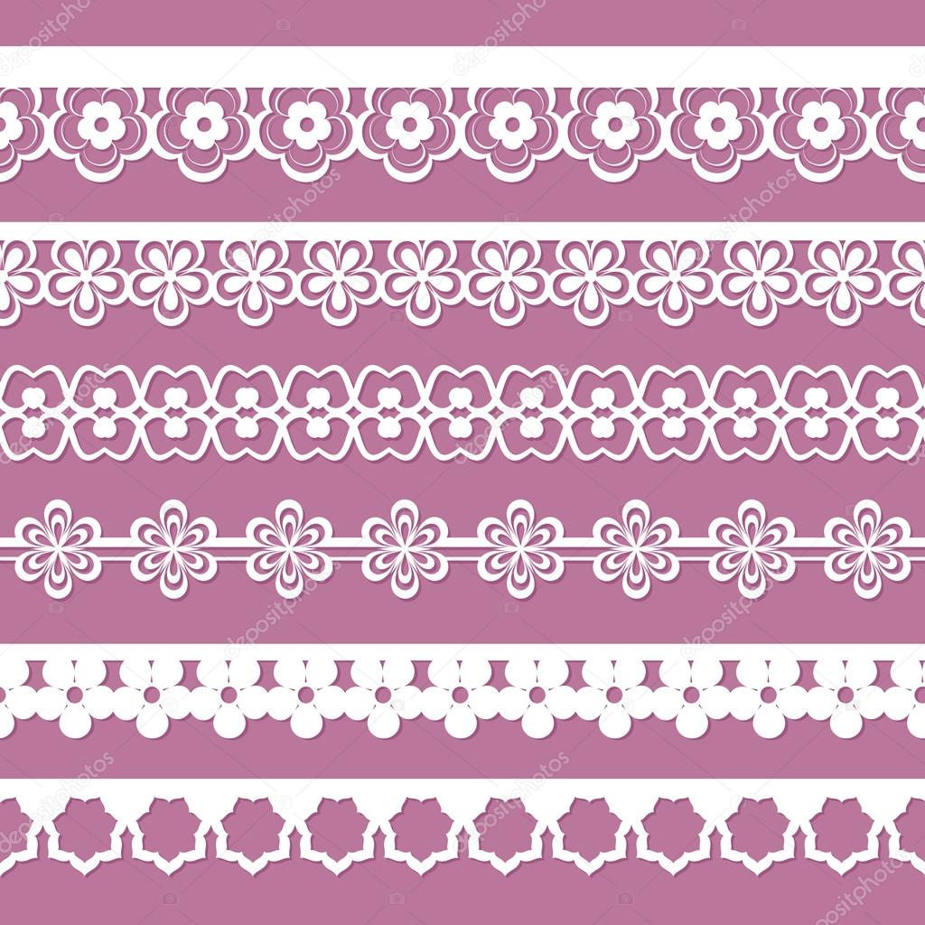 Set of seamless paper floral laces