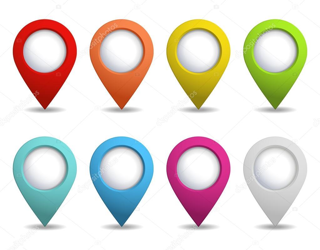 Puntero De Ubicación: Conjunto De Punteros Brillante Mapa