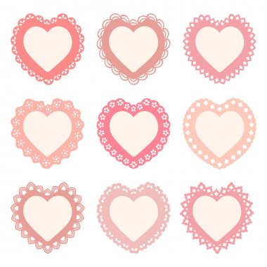 Set of 9 heart frames with an ornamental border (seamless borders are included in the file) stock vector