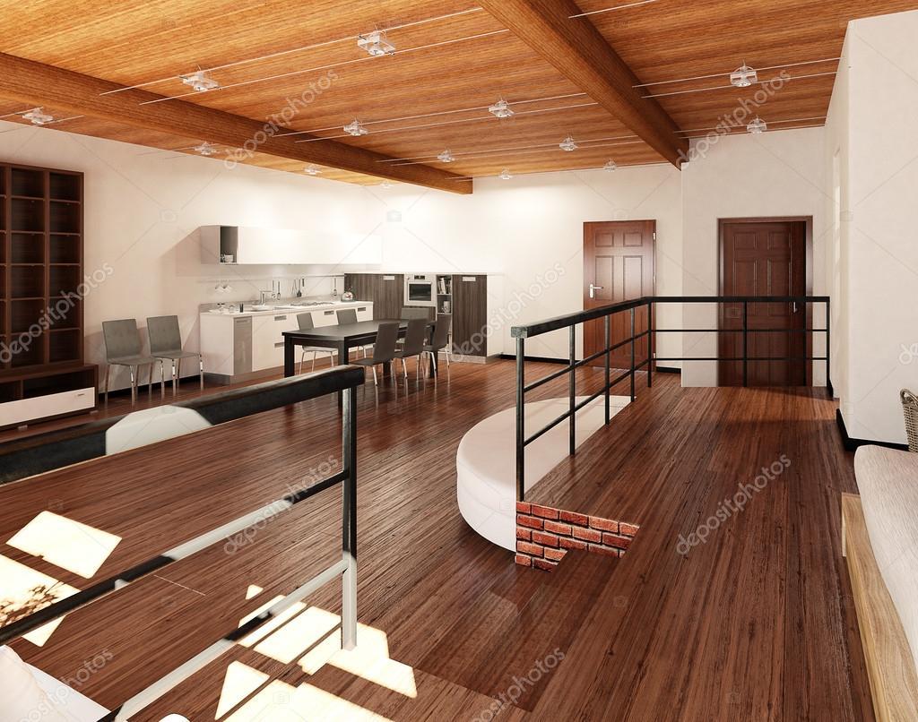 Rendering 3d interni di un loft piccolo foto stock for Rendering 3d interni