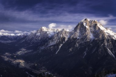 Cadore valley during the sunrise in winter
