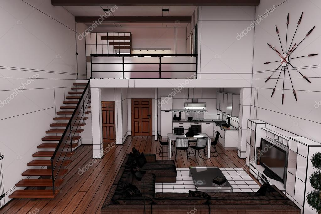 3d interior rendering of a modern tiny loft stock photo