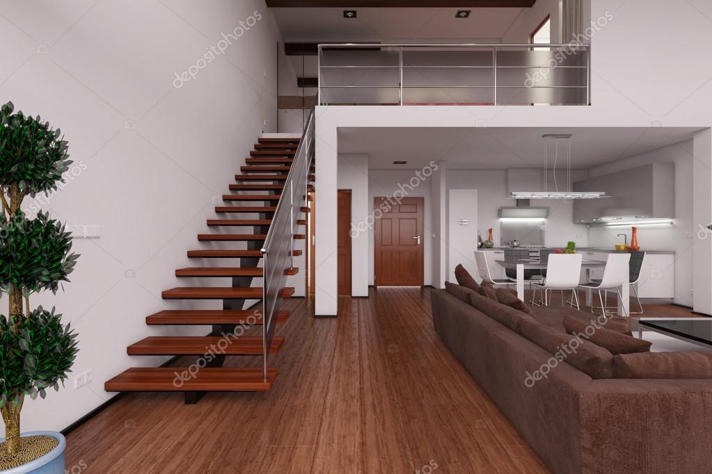 3d render interior de un moderno loft peque o fotos de - Loft pequeno ...