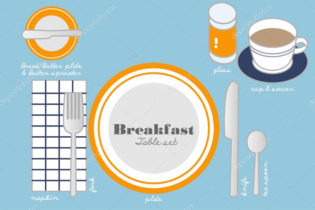BREAKFAST TABLE SETTING \u2014 Stock Vector  sc 1 st  Depositphotos & BREAKFAST TABLE SETTING \u2014 Stock Vector © commonthings #73765809