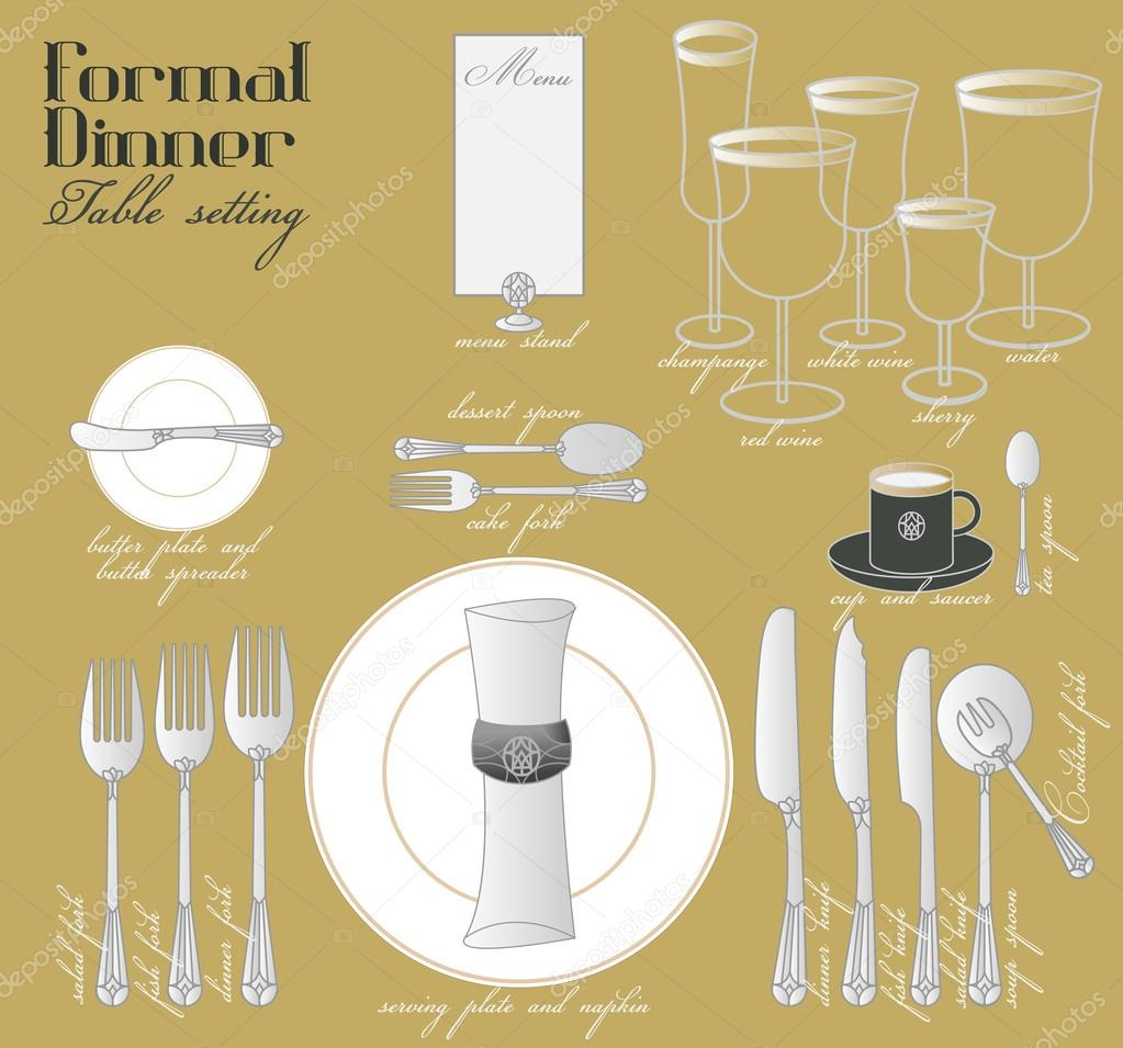 FORMAL DINNER TABLE SETTING — Stock Vector © commonthings #73767595