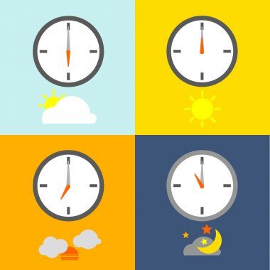 Clocks show 4 times for people routine and the sky icon show indicate the time as usual. stock vector
