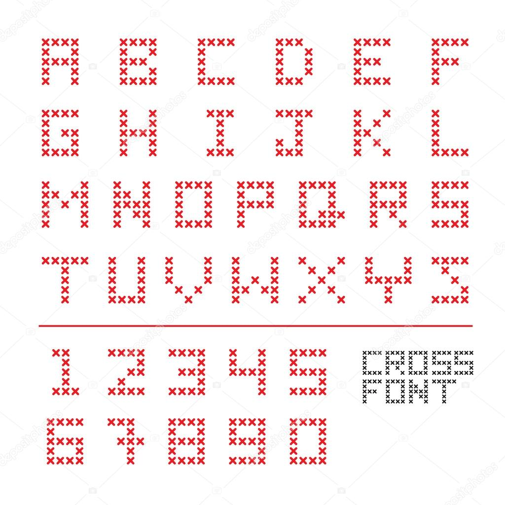 CROSS STITCH FONT — Stock Vector © commonthings #96609874