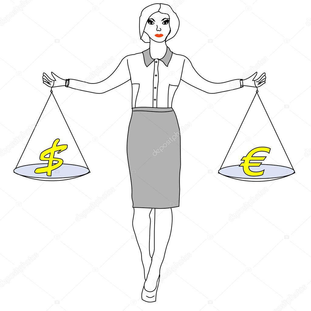 women holding a balance