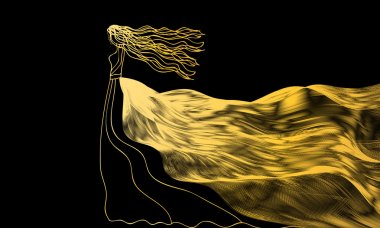 girl in a golden dress of abstract waves on a black background
