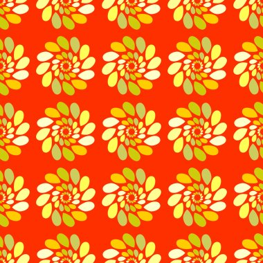 Seamless pattern of colored leaves on an orange background