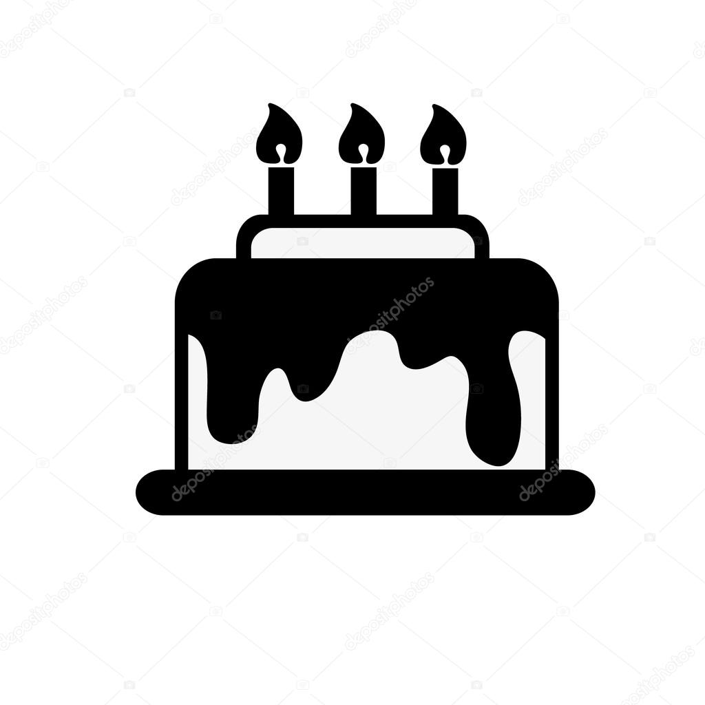 icon, black and white cake vector — Stock Vector ...