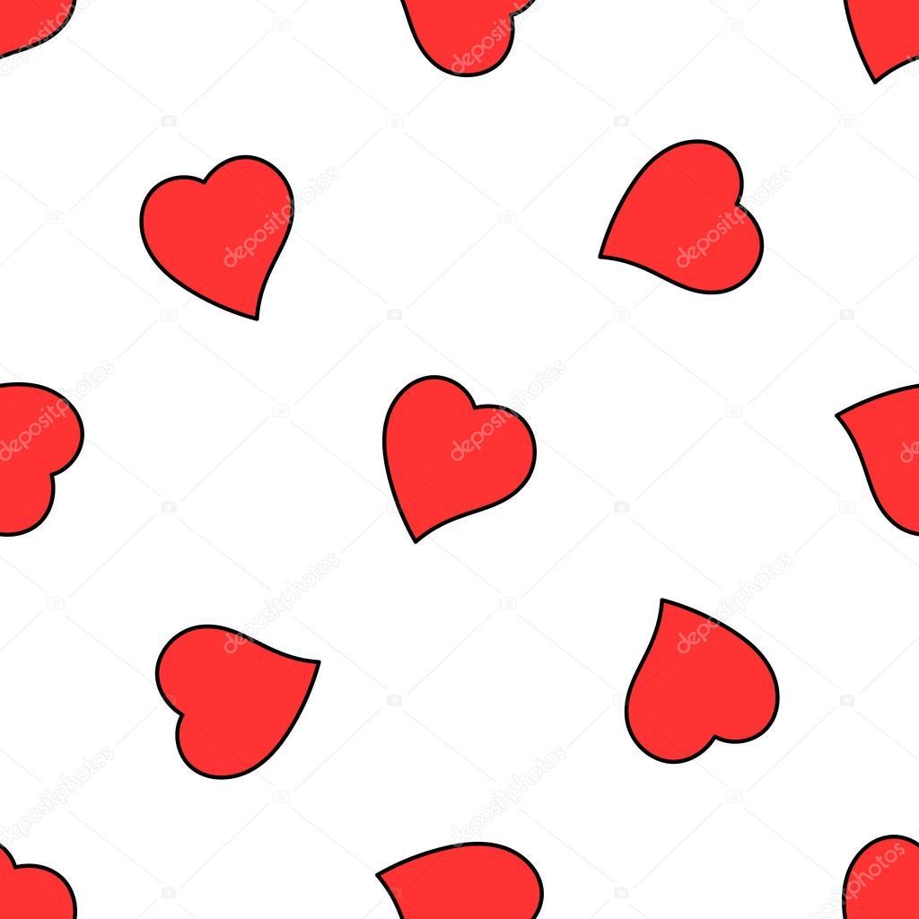 Valentine Hand gezeichnete Liebe Herz nahtlose Muster — Stockvektor ...