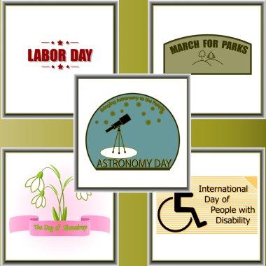 Calendar holidays, set