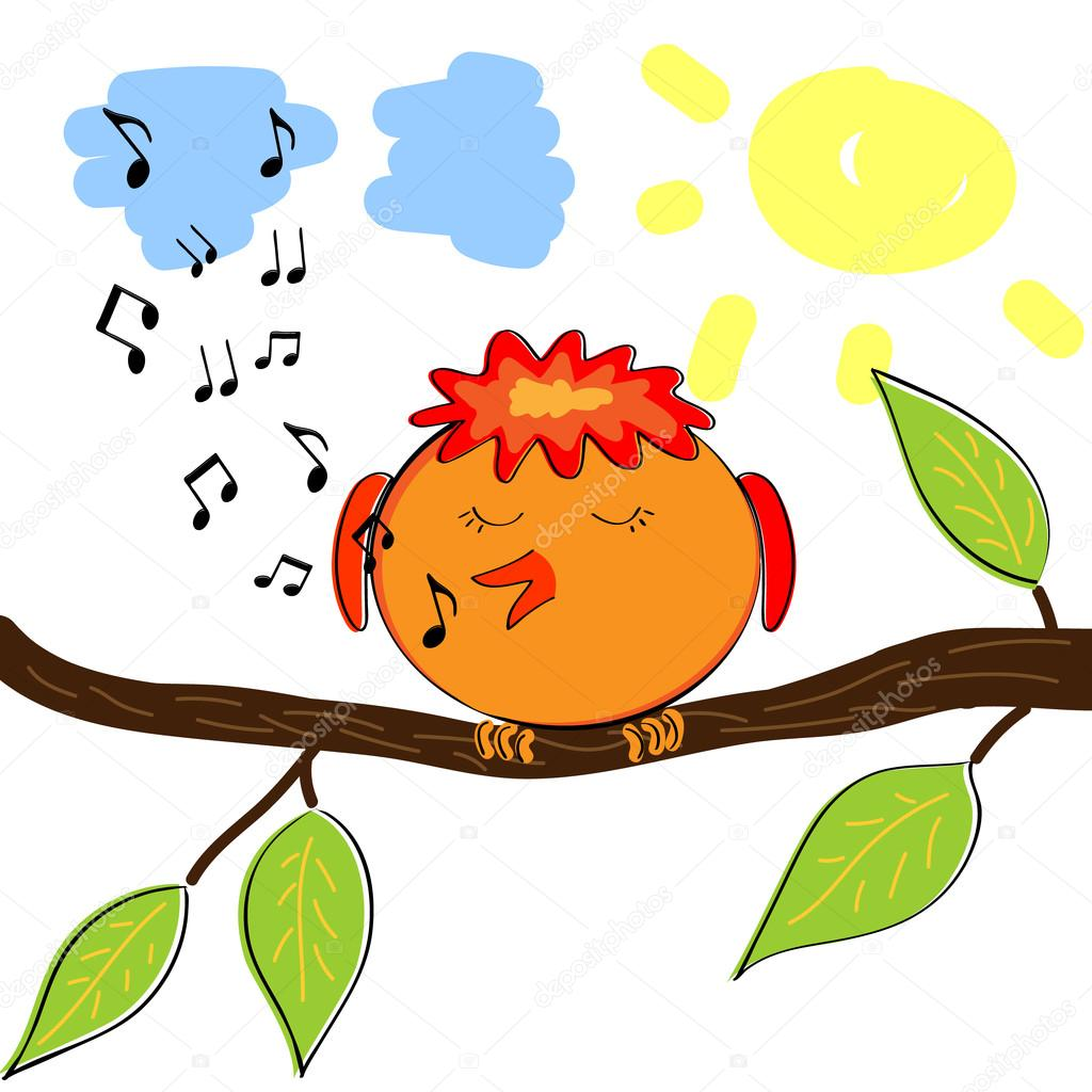 Cartoon bird on branch singing a tune