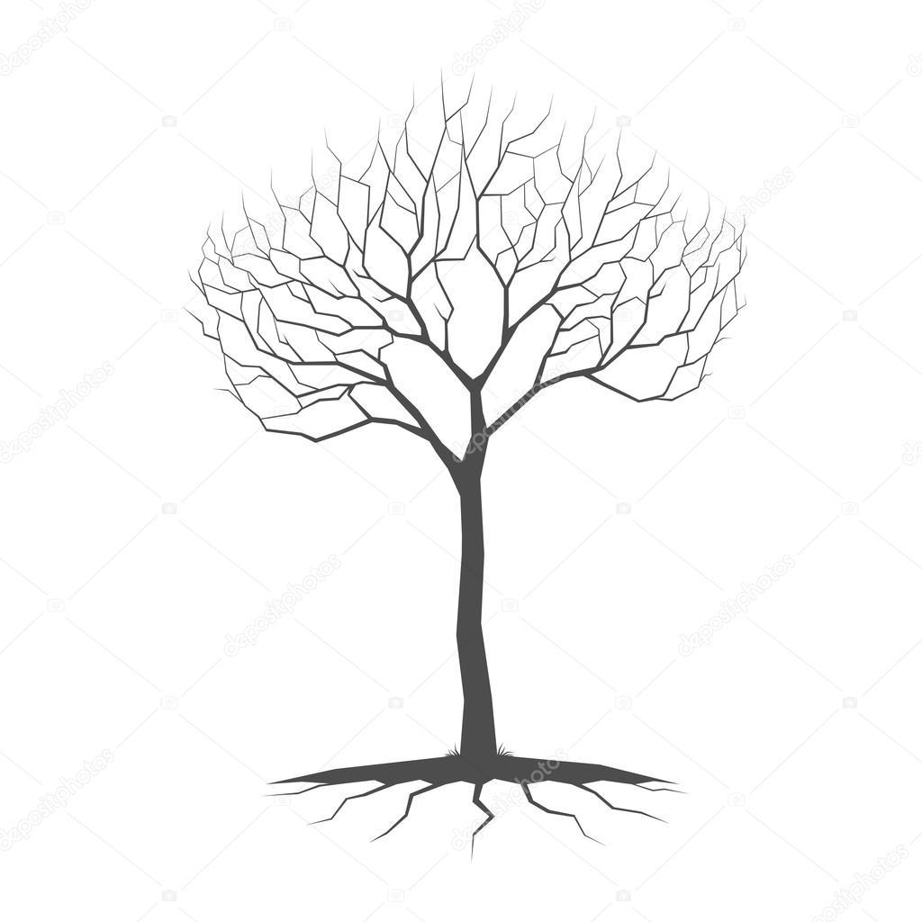 vector arbol con raices silueta silueta de árbol con raíces