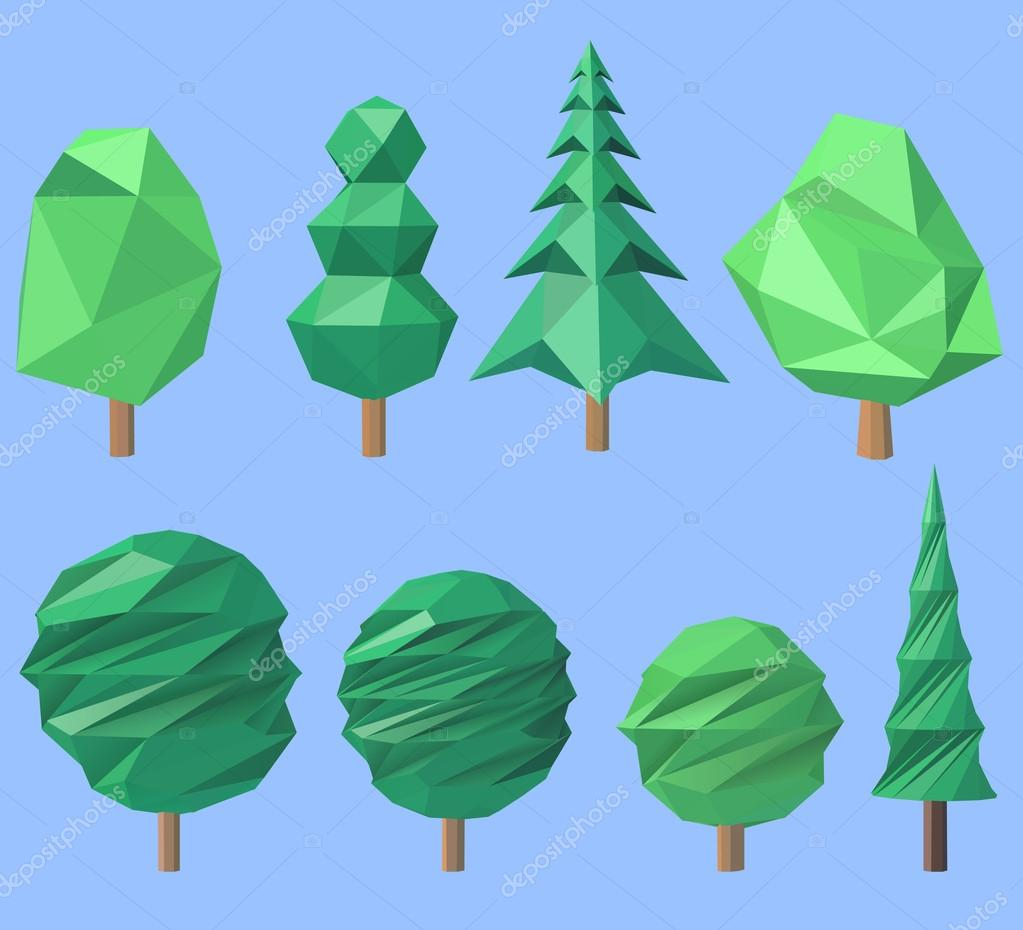Set of volumetric polygonal trees