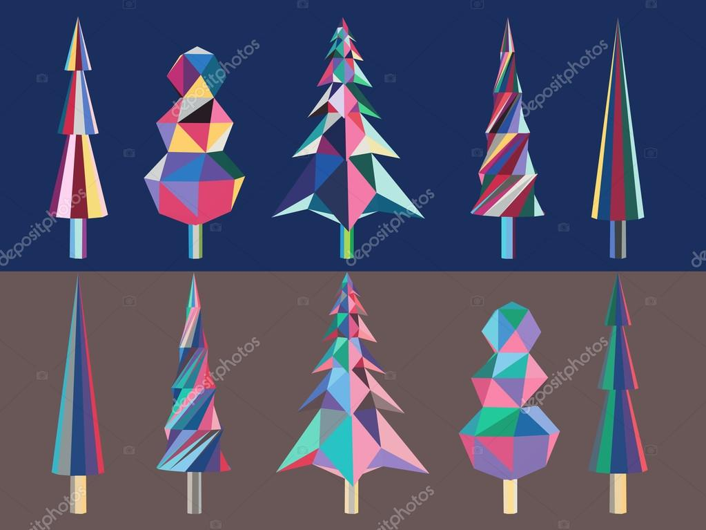 Bright polygonal chrismas trees