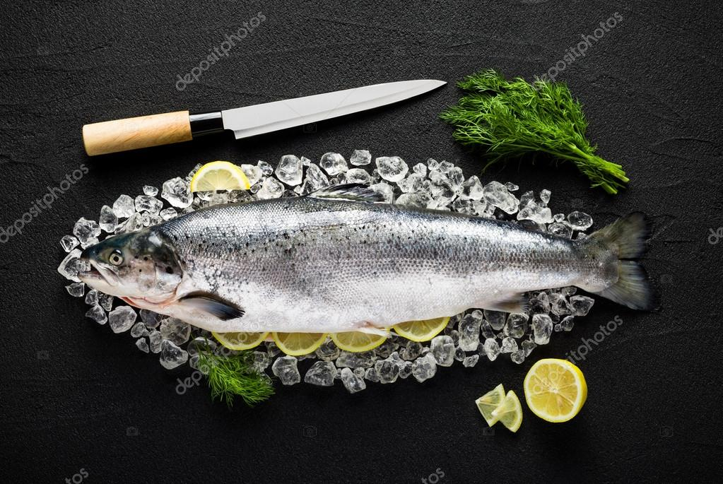 Salmon fish and ingredients on ice on a black stone table top vi