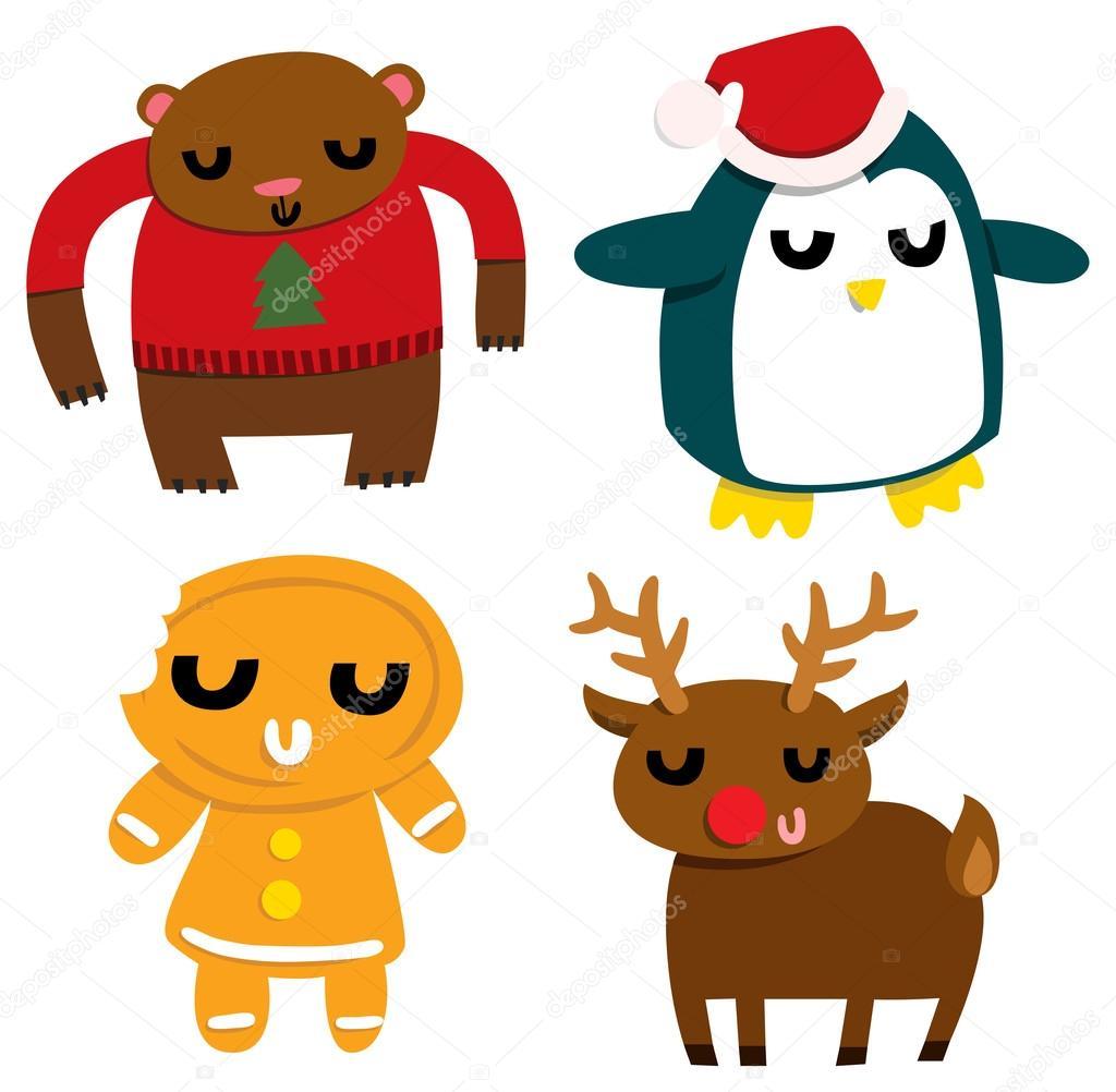 funny christmas characters u2014 stock vector lenanayashkova 59018473