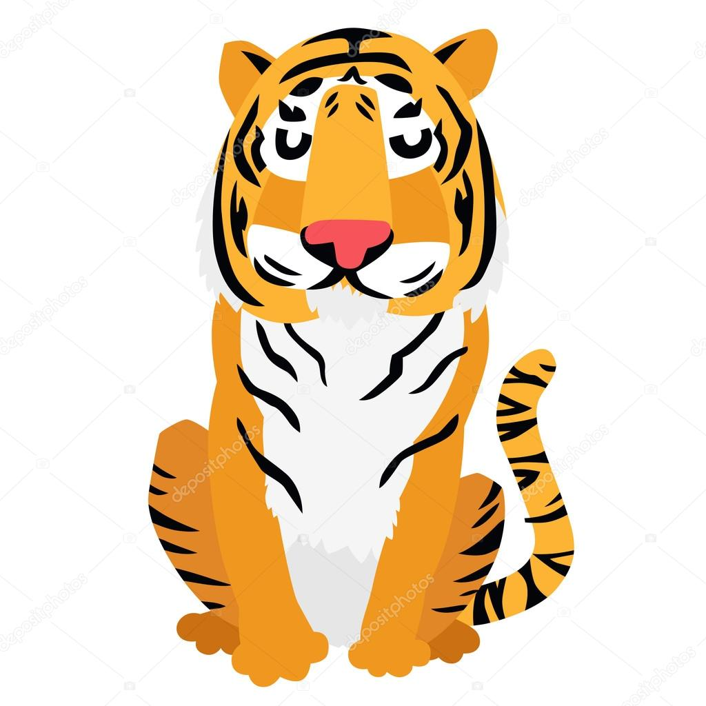 Cool Tiger Sitting On White Background Vector By Lenanayashkova