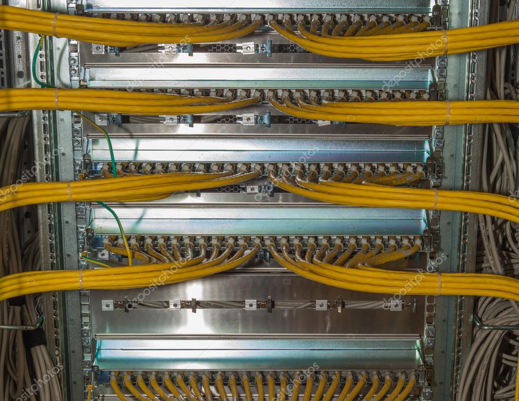 It Redundancy Lan Cable Connections In A Datacenter On Network Diagram Distributor Stock Photo