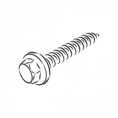 screws, nails isolated on a white background. Vector illustration
