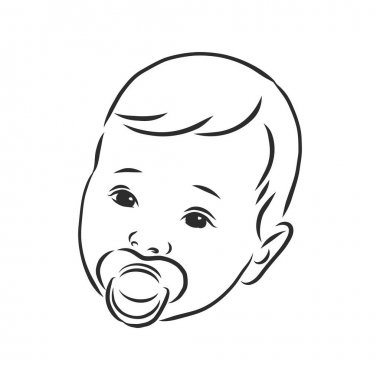 Vector illustration. a child with a pacifier vector sketch illustration icon