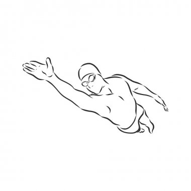 Illustration of a swimmer , black and white drawing, white background icon