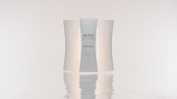 Kozmetikai üres műanyag palackok gyűjteménye a bőr- és hajápoláshoz, sampon márkás mockup csomagolása, kondicionáló, fehér alapon elszigetelt. Természetes kozmetikumok, tisztítószerek 3D animációja