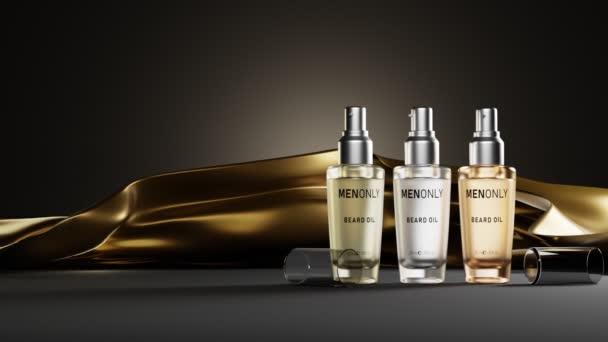 Luxus kozmetikumok férfiaknak, üveg palack szerves szakáll olaj sötét háttérrel, hajlakk arany selyem szövet, folyékony bőr szérum, krém tiszta sapkával. 3D-s csomagolástervezés, termékreklám